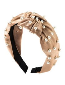 Fashion Brown Cloth Knotted Pearl Headband