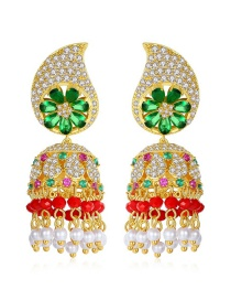 Fashion Green-t04f24 Bell Pearl Tassel Earrings