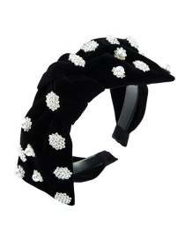 Fashion Black Diamond Pearl Flower Bow Headband