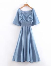 Fashion Light Denim Blue Elasticated Waist Silk Wash Denim Dress