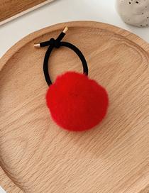 Fashion Red Imitation Rabbit Hair Ring