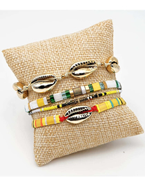 Fashion Suit Gold Rice Beads Woven Natural Shell Bracelet