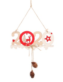 Fashion B 2020 Wooden Letter Card Pendant 2020 Letter Hemp Rope Wooden Pendant