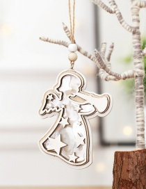 Fashion White Angel With Light Pendant Wooden Twine Christmas Tree Pendant