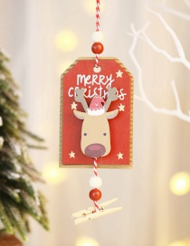 Fashion Elk Red Wooden Clip Pendant Painted Wooden Christmas Tree Pendant