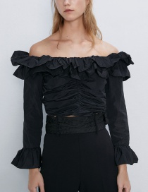 Fashion Black Pleated Short Top