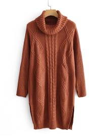 Fashion Rust Red Knit Turtleneck Sweater