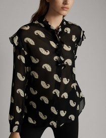 Fashion Black Ruffled Paisley Pattern Shirt