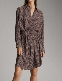 Fashion Brown Chain Printed Shirt Dress