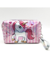 Fashion Pink Love Pu Unicorn Laser Cosmetic Bag