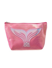 Fashion Rose Red Pu Laser Mermaid Embroidered Hexagon Storage Bag