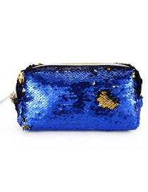 Fashion Blue + Gold Hand Zipper Mermaid Sequin Pencil Case