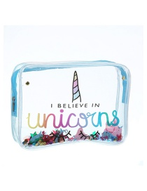 Fashion Blue Unicorn Pvc Transparent Cartoon Glitter Sequin Cosmetic Bag