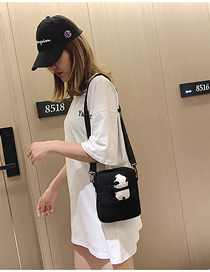 Fashion Black Canvas Cartoon Shoulder Messenger Bag