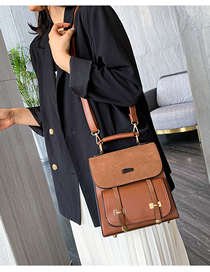 Fashion Brown Frosted Stitching Backpack