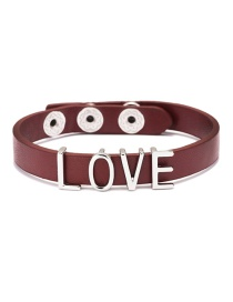 Fashion Red Leather Love Letter Bracelet