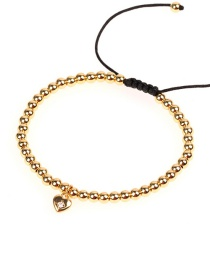 Fashion Gold Gold-plated Micro-inlaid Zircon Heart-shaped Copper Gold Beads Woven Bracelet