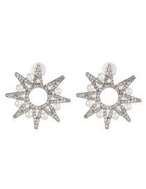 Fashion Silver Geometric Diamond Pearl Star Stud Earrings