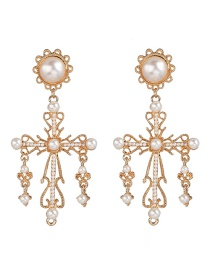 Fashion Gold Pearl Cross Earrings