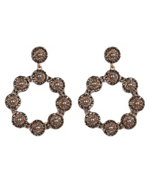 Fashion Black Diamond Flower Earrings