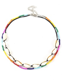 Fashion Color Woven Shell Rice Beads Necklace