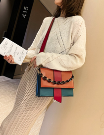 Fashion Orange + Red Chain Contrast Color Crossbody Shoulder Bag