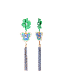 Fashion Blue Flower Drop Glaze Butterfly Tassel Earrings