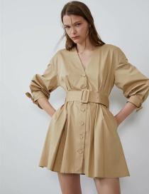 Fashion Khaki Belt Dress