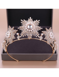 Fashion Gold Large Pearl Crown Headband