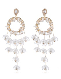Fashion White Alloy Pearl Tassel Flower Earrings
