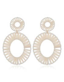 Fashion White Alloy Woven Earrings