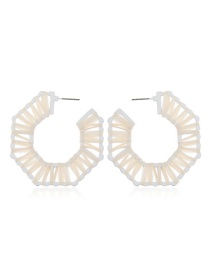 Fashion White Braided Geometric C-shaped Semi-circular Alloy Earrings