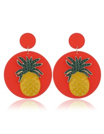 Fashion Pineapple Red Acrylic Earrings