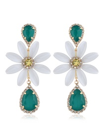 Fashion White Flower And Diamond Earrings