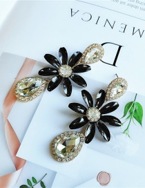 Fashion Black Flower And Diamond Earrings