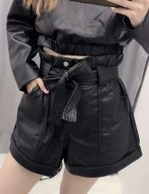 Fashion Black Faux Leather Lace Shorts
