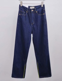 Fashion Blue Washed High-waisted Foot Straight Slit Pants
