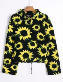 Fashion Black Flower Print Zipper Sweater
