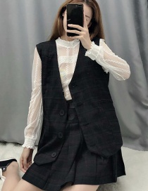 Fashion Black Plaid Printed Single-breasted Vest