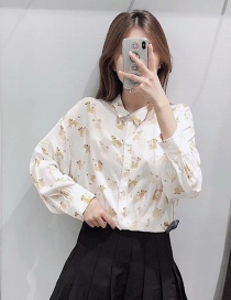 Fashion White Flower Printed Single-breasted Shirt