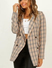 Fashion Cream Color Plaid Print Small Suit
