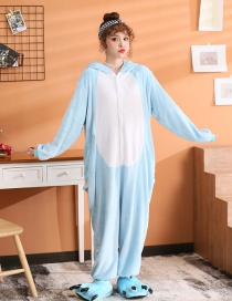 Blue Mouse Flannel Cartoon One-piece Pajamas