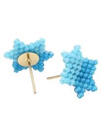 Blue Rice Beads Woven Star Earrings