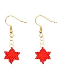 Red Rice Beads Woven Star Earrings