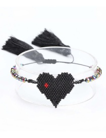 Black Rice Beads Woven Love Lips Crystal Bracelet