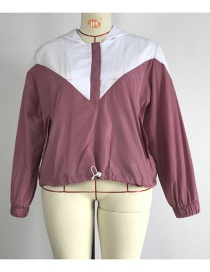 Fashion Pink Colorblock Hooded Sweater