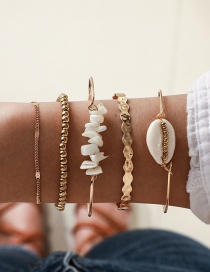 Fashion Gold Shell Gravel Gold Beads Water Ripple Alloy Bracelet Five-piece