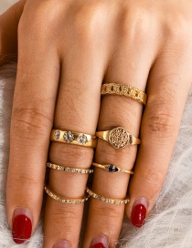 Fashion Gold Eye Geometry Twist Rhinestone Alloy Ring Set Of 7