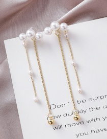 Fashion Gold 925 Silver Needle Size Pearl Tassel Earrings
