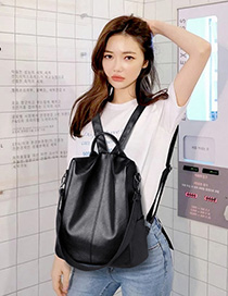 Fashion Black Solid Color Backpack
